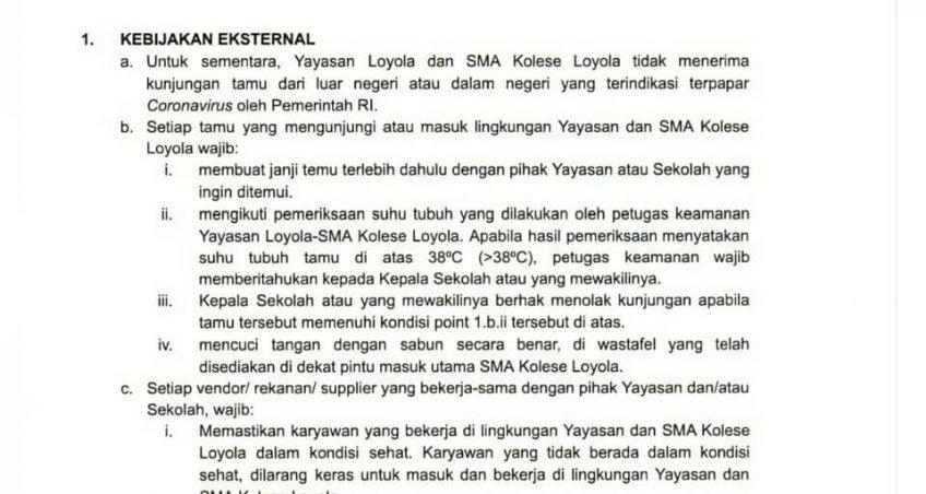 Protokol Kewaspadaan dan Pencegahan Virus Korona (COVID-19) untuk Keluarga Besar Kolese Loyola (KBKL)