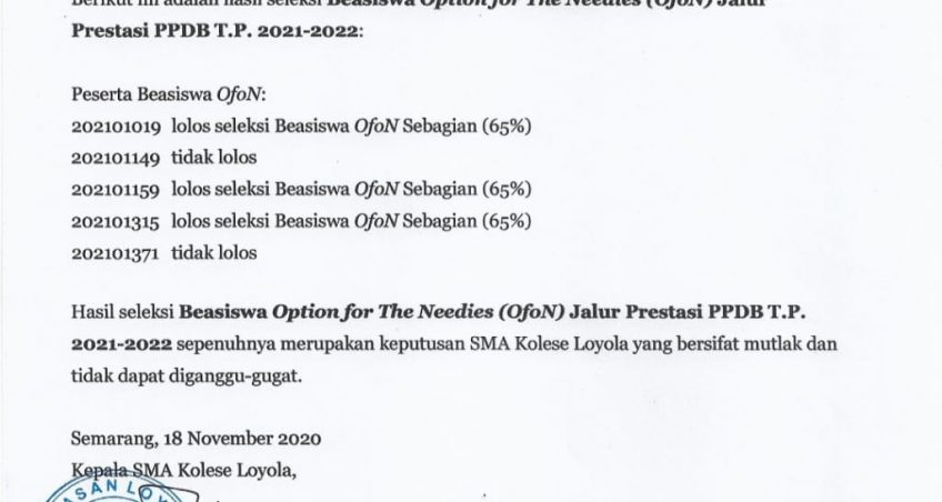 Pengumuman Hasil Seleksi Beasiswa Option for The Needies (OfoN) Jalur Prestasi PPDB T.P 2021 – 2022