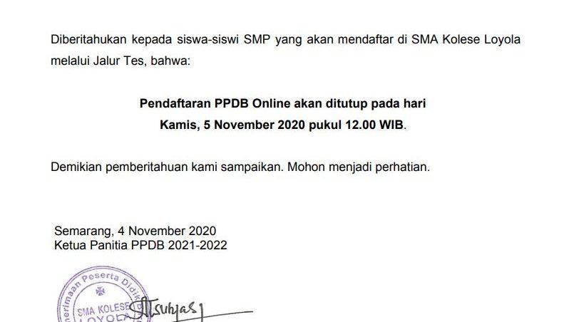 Batas Akhir Pendaftaran Jalur Tes PPDB T.P 2021/2022