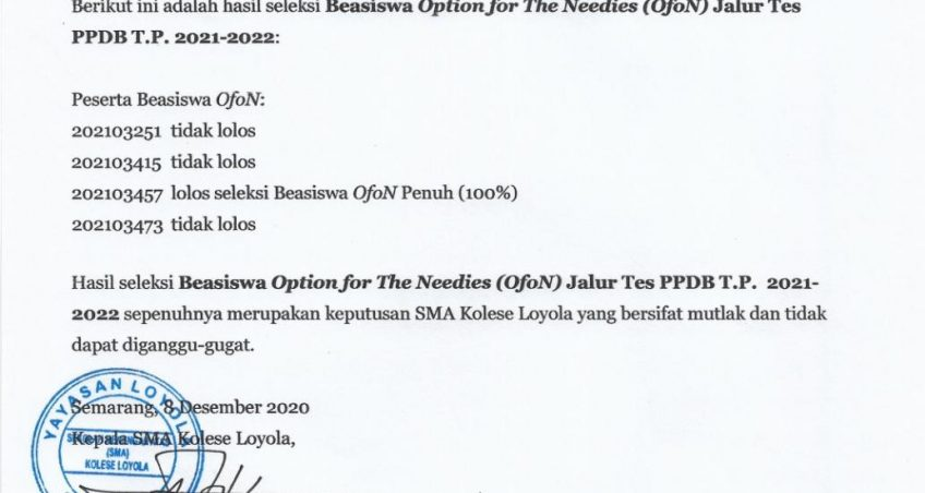 Pengumuman Hasil Seleksi Beasiswa Option For the Needies (OfoN) Jalur Tes PPDB T.P 2021 – 2022