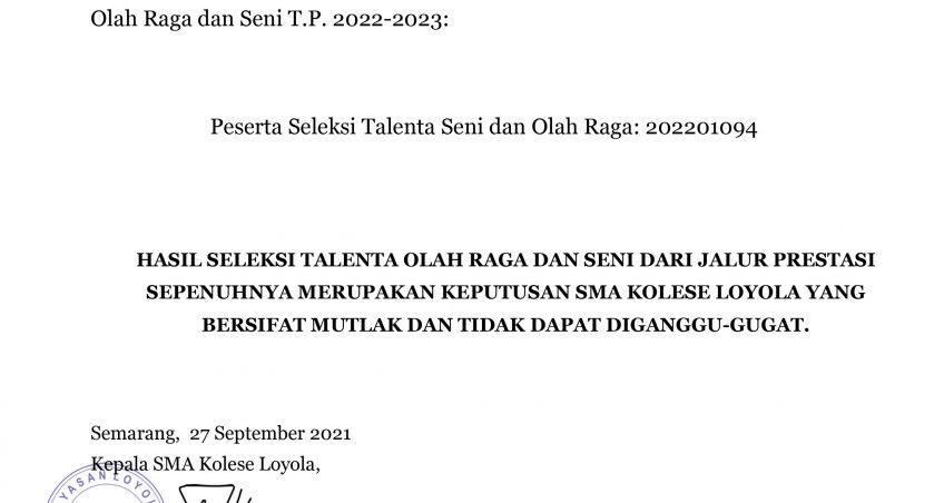 Pengumuman Hasil Seleksi Talenta Olahraga dan Seni Dari Jalur Prestasi PPDB T.P. 2022 – 2023