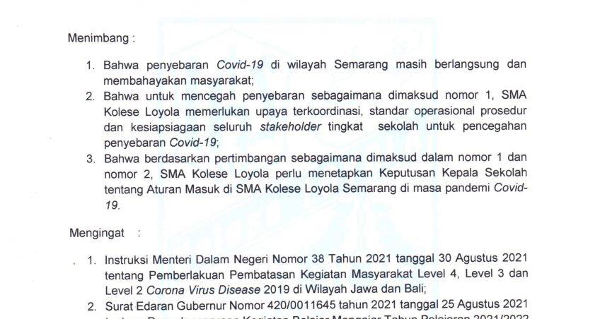 Surat Keputusan Kepala Sekolah Tentang Penetapan Aturan Masuk di SMA Kolese Loyola Selama Masa Pandemi Covid-19